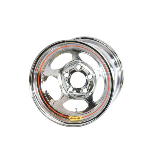Bassett 38SN3C 13X8 Inertia 5 on 100mm 3 Inch Backspace Chrome Wheel