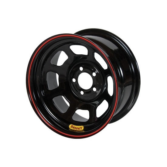 Bassett 57SN3 15X7 D-Hole Lite 5 on 100mm 3 Inch Backspace Black Wheel