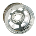 Bassett 58DF2WSL 15X8 D-Hole 5on4.5 2 BS Wissota Silver Beadlock Wheel