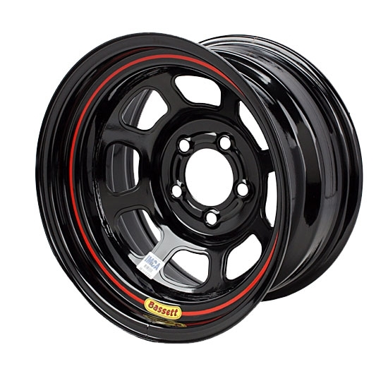 Bassett D58DJ45 15X8 Dot D-Hole 5 on 5.5 4.5 In Backspace Black Wheel