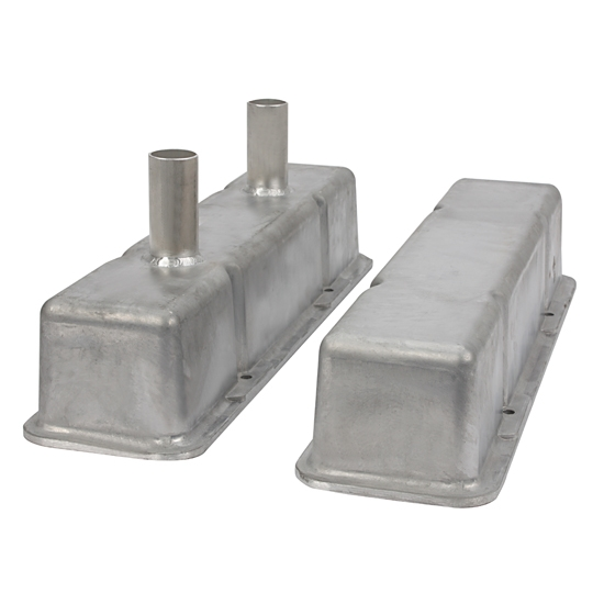 Speedway Chevy Tall Valve Covers w/ Breather Tubes, Plain Aluminum