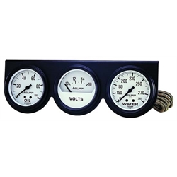 Auto Meter 2328 Auto Gage Mechanical 3 Gauge Console, Oil/Water/Volt