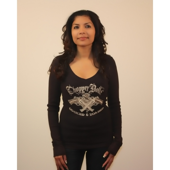 MotorCult CD-231 Chopper Dolls V-Neck Long Sleeve, Small