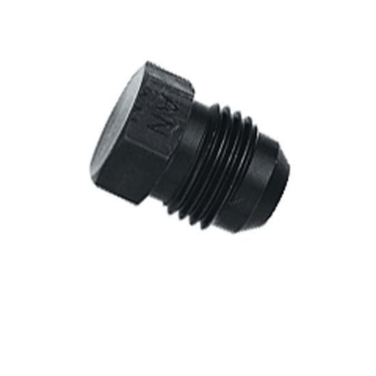 Aluminum Flare Fitting Plug, Black, -6 AN