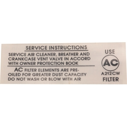 Air Cleaner Service Instructions 396/375, 1967 Camaro