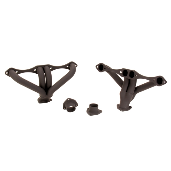 Small Block Chevy Hugger Tight-Fit Headers for Angle Plug Heads, Black