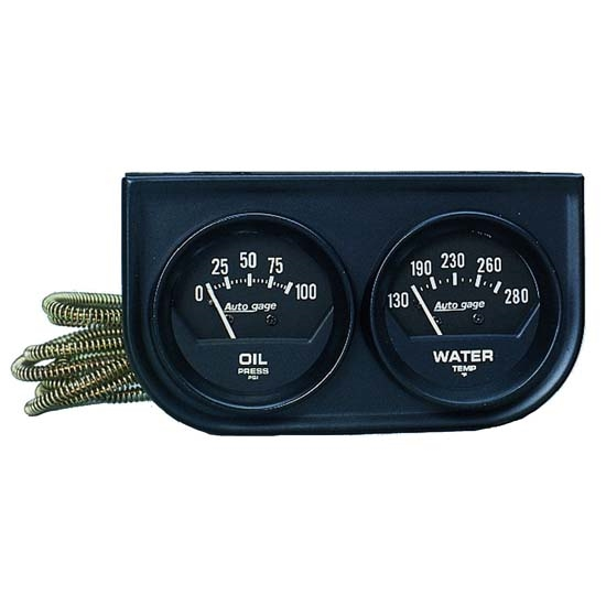Auto Meter 2345 Auto Gage Mechanical 2 Gauge Console, Oil/Water