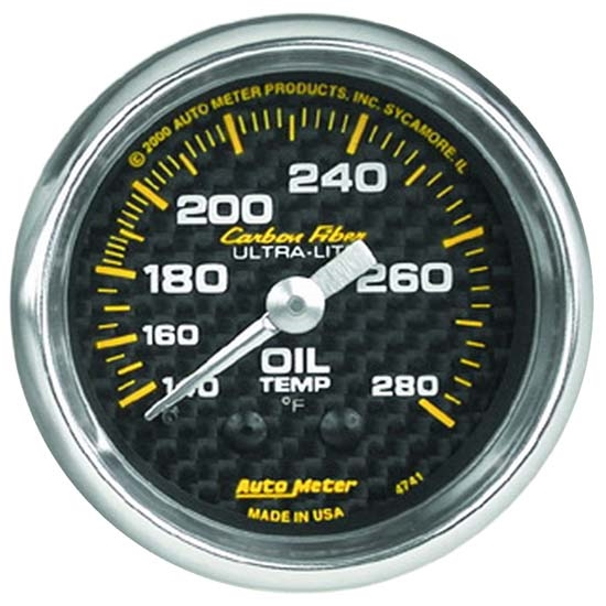 Auto Meter 4741 Carbon Fiber Mechanical Oil Temperature Gauge