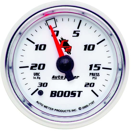 Auto Meter 7107 C2 Mechanical Boost/Vacuum Gauge, 2-1/16 Inch