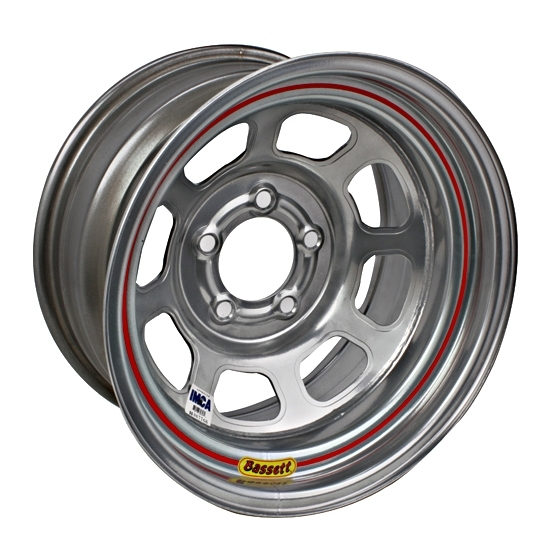 Bassett 58DJ4IS 15X8 D-Hole 5 on 5.5 4 In Backspace IMCA Silver Wheel