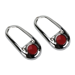 1949-1950 Chevy Chrome Tail Light Bezel with Red Reflector