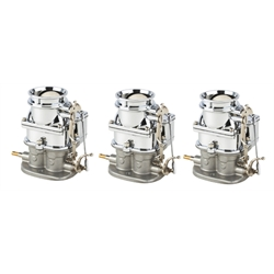 Set of 3 9 Super 7 3-Bolt 2-Barrel Carburetors, Chrome Finish