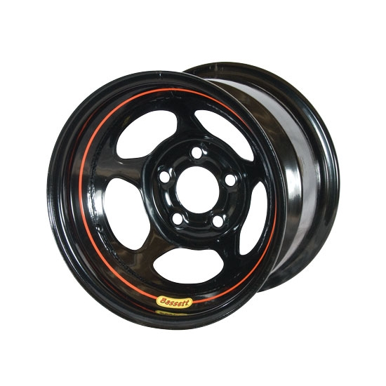 Bassett 58AC35 15X8 Inertia 5 on 4.75 3.5 Inch Backspace Black Wheel
