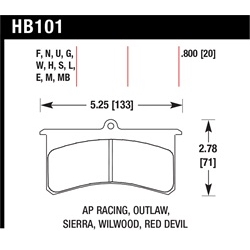 Garage Sale - Hawk HB101W.800 Superlite Disc Brake Pads, AP Racing/Outlaw/Sierra/Wilwood/Red Devil