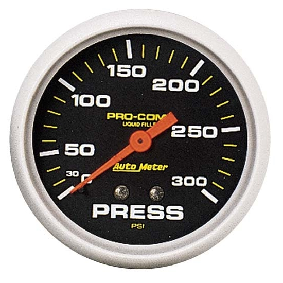 Auto Meter 5423 Pro-Comp Mechanical Pressure Gauge, 300 PSI, 2-5/8 In.