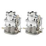 Pair of Primary 9 Super 7 3-Bolt 2-Barrel Carburetors, Chrome Finish