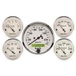 Auto Meter 1602-M Old-Tyme White 5 Piece Gauge Set, Electric