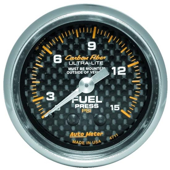 Auto Meter 4711 Carbon Fiber Mechanical Fuel Pressure Gauge