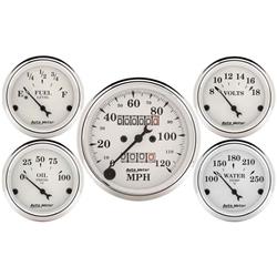 Garage Sale - Auto Meter 1601 Old-Tyme White 5 Piece Gauge Set, Mechanical