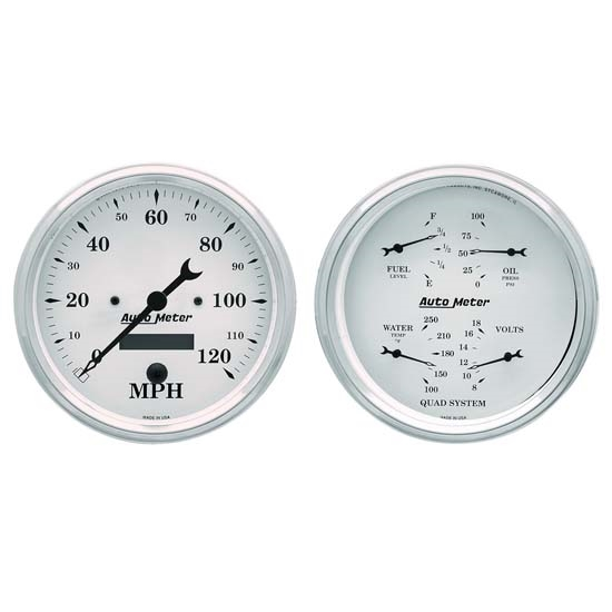 Auto Meter 1603 Old-Tyme White Air-Core 2 Piece Gauge Kit, 5 Inch