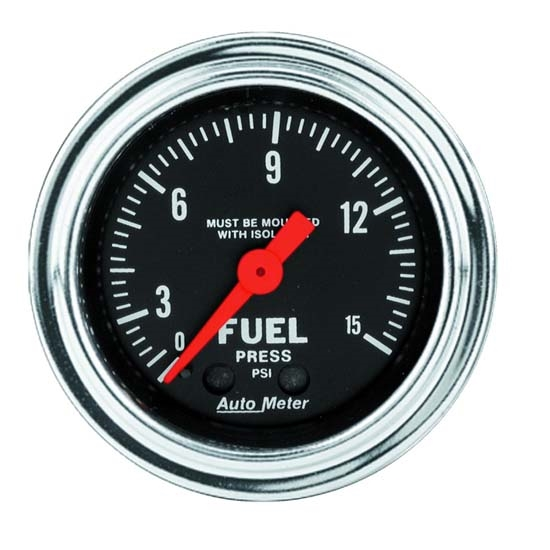 Auto Meter 2413 Traditional Chrome Mech Fuel Pressure w/Isolator Gauge