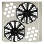 Electric Fan Shroud w/ Two Fans, 25-28 Inch Tank-to-Tank x 17-20 Inch