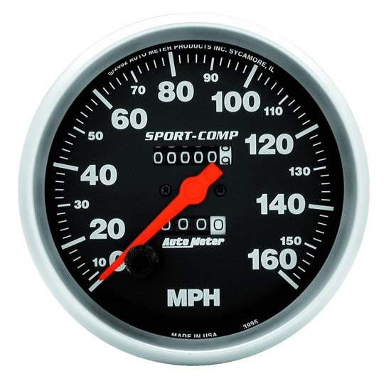 Auto Meter 3995 Sport-Comp Mechanical Speedometer, 160 MPH, 5 Inch