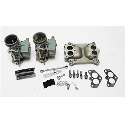 Garage Sale - Two Plain 9 Super 7 Carbs on Single 4 Bbl Intake Manifold Adapter Kit