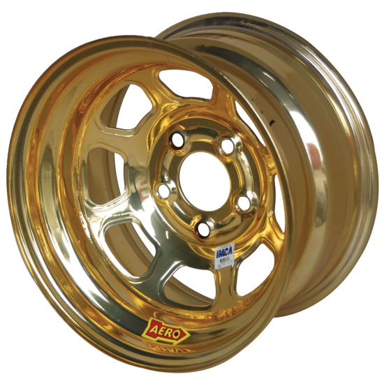 Aero 52-984540GOL 52 Series 15x8 Wheel, 5 on 4-1/2 BP, 4 Inch BS IMCA