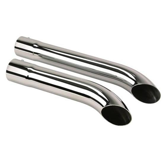 Slip-Over Extension Pipes w/ Mufflers, Chrome, 3-1/2 x 26 Inch