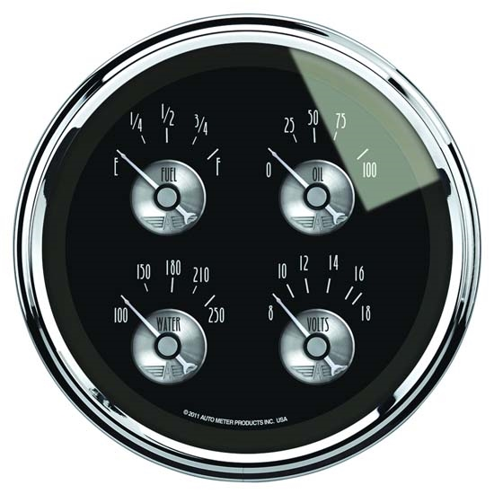Auto Meter 2012 Prestige Black Diamond Air-Core Quad Gauge, 5 Inch