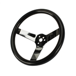 Speedway Classic Solid Spoke 12 Inch Black Steering Wheel - No Holes