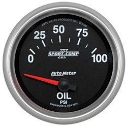 Auto Meter 7627 Sport-Comp II Air-Core Oil Pressure Gauge, 100 PSI