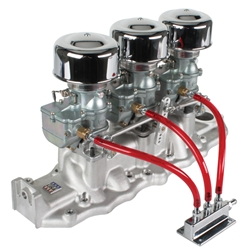Three Plain 9 Super 7 Carbs on Edelbrock 1108 Intake, 1938-48 Ford V8