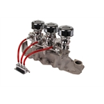 Three Chrome 9 Super 7 Carbs, Offenhauser 1074 Intake Kit, 42-48 Ford