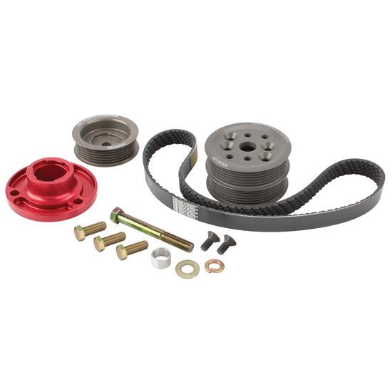 KRC Chevy Modular Serpentine Pulley Kit, 15% Reduction, Block Mount Pump