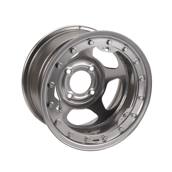 Bassett 38SP2SL 13X8 Inertia 4 on 4.25 2 Inch BS Silver Beadlock Wheel
