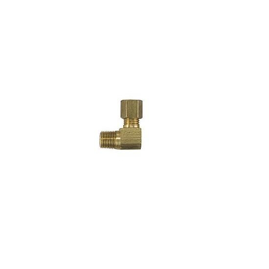 Brass Compression Fitting, 3/16 Tube to 1/8 NPT, 90 Degree