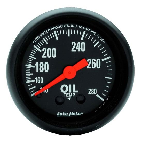 Auto Meter 2609 Z-Series Mechanical Oil Temperature Gauge, 2-1/16 Inch