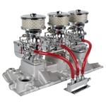 (3) 9 Super 7 Carbs on Small Block Chevy Edelbrock Vortec Intake, Chrome