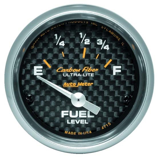 Auto Meter 4715 Carbon Fiber Air-Core Fuel Level Gauge, 2-1/16 Inch
