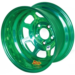 Aero 52-984710GRN 52 Series 15x8 Wheel, 5 on 4-3/4 BP, 1 Inch BS IMCA