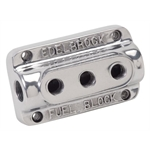 Edelbrock 12851 Polished 3-Carb Fuel Block