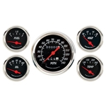 Omega Kustom 931053 Black 5-Gauge Set, Mechanical Speedometer, 3-3/8