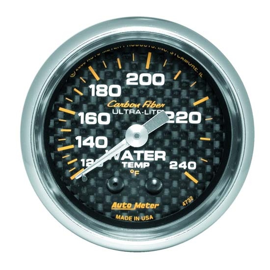 Auto Meter 4732 Carbon Fiber Mechanical Water Temperature Gauge