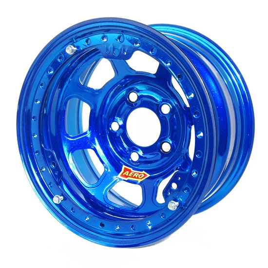 Aero 53985020WBLU 53 Series 15x8 Wheel, BL, 5 on 5, 2 Inch BS Wissota