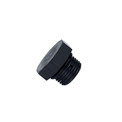 Aluminum Straight Thread Fitting Plug, Black, -6 AN