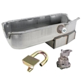 Small Block Chevy Claimer Oil Pan w/ Plug Combo, Hi-Vol. Pump, LH Dipstick