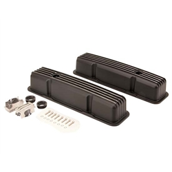 1958-1986 SBC 283-305-327-350-400 Tall Finned Valve Covers, Black