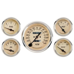 Omega Kustom OK-21053 Tan 5-Gauge Set, Mechanical Speedometer, 3-3/8